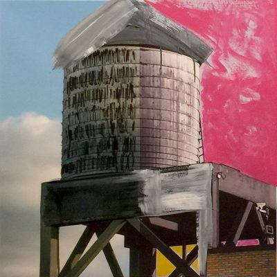 """HORATIO WATER TOWER 2018 30""""X30"""" MIXED MEDIA"""