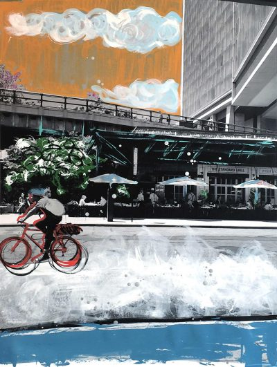 """STANDARD BICYCLE 2017 30""""X40"""" MIXED MEDIA ON PAPER"""