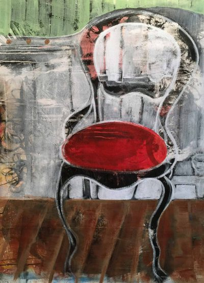 "RED CHAIR 34""X48"" 2017 ACRYLIC"
