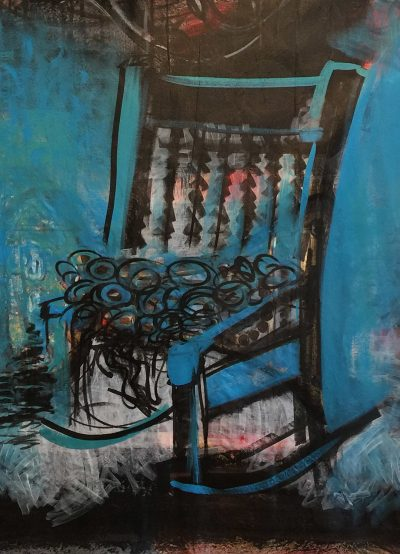 "BLACK CHAIR 2017 34""X48"" ACRYLIC"